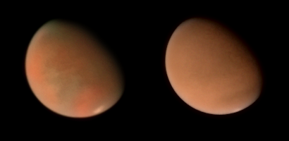 Hubble Space Telescope views of Mars' developing dust storm