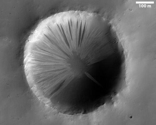 Slope streaks in a little crater in Arabia Terra