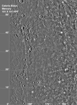 Mercury's Caloris Basin (high-pass filtered)