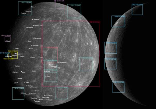 Locations of MESSENGER Mercury Flyby 2 detail images as of October 17, 2008
