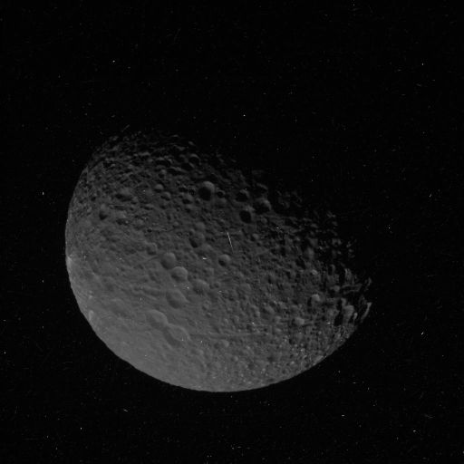 Cosmic ray hits on a Cassini image of Mimas