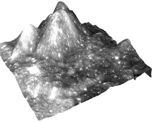 Chandrayaan-1 Moon image draped over digital elevation model