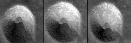 Three Chandrayaan-1 Terrain Mapping Camera images of a crater