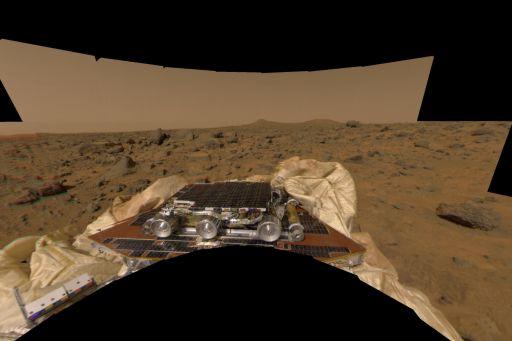Sojourner just after Mars Pathfinder's landing