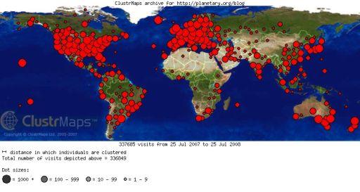 Planetary Weblog Clustrmap for 2007-2008