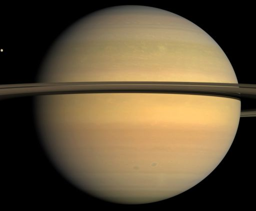 Saturn's globe (and Tethys too)