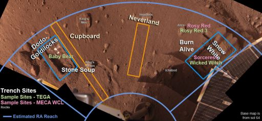 Site names within the Phoenix work volume as of sol 76