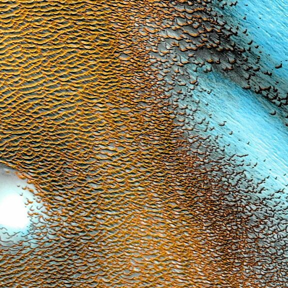 Blue dunes on red planet