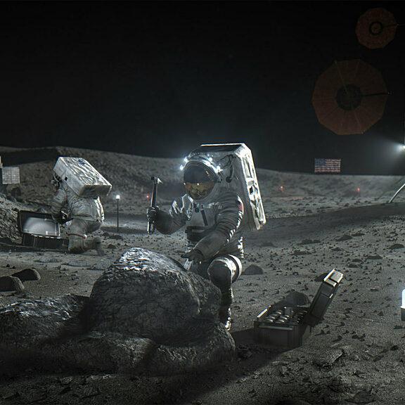 Artemis astronaut on moon