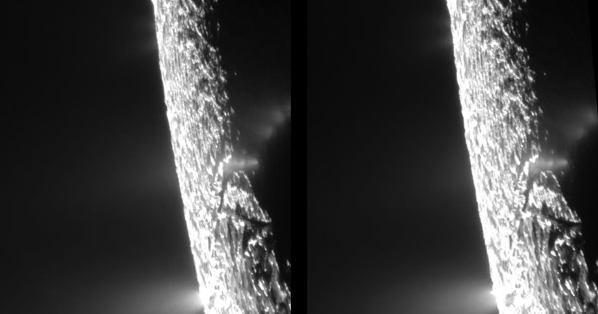 Enceladus Plumes In Cross Eyed Stereo The Planetary Society