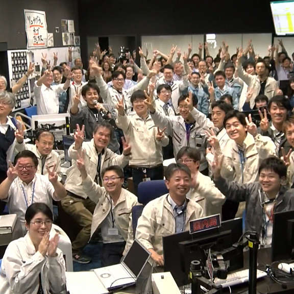 20190711 hayabusa2 touchdown mission control celebration