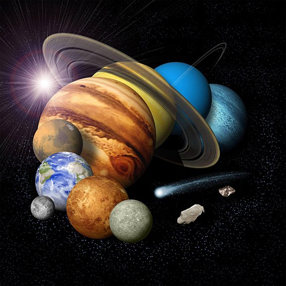 Solar system montage with eight planets